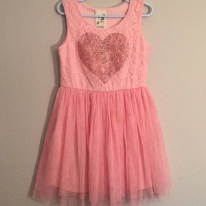 Pink Heart Girl 's Dress